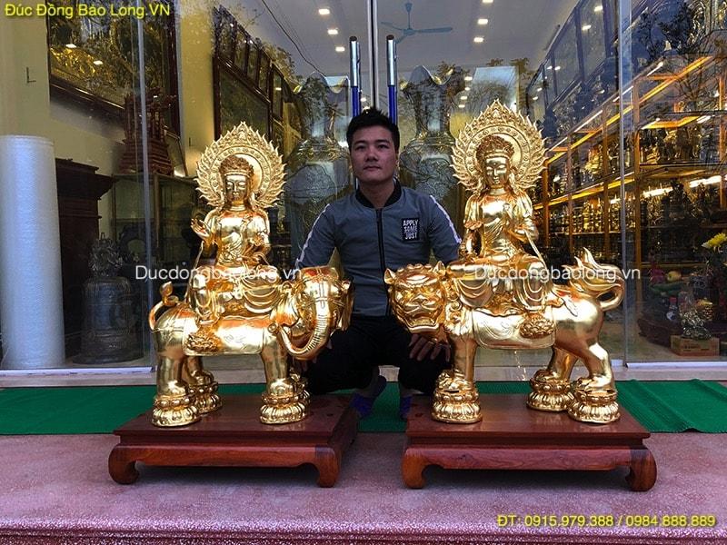 Tượng phật bằng đồng tại Lào Cai, văn thù phổ hiền