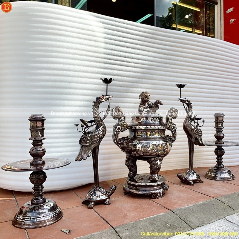 Ngũ Sự Khảm Ngũ Sắc 60cm cho bàn thờ 1m97