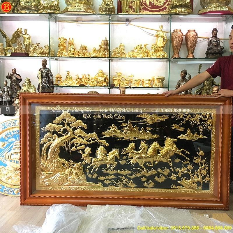 Tranh Bát Mã 1m97 mạ vàng, khung gỗ Gõ