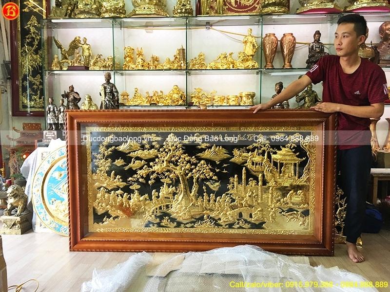 tranh vinh quy bái tổ khung gỗ gõ