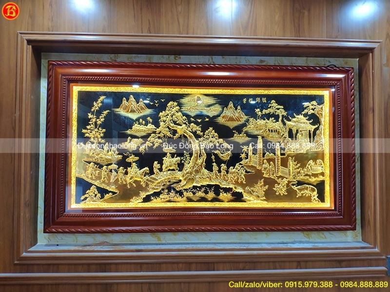 Tranh Vinh Quy Bái Tổ mạ vàng 1m97 đẹp