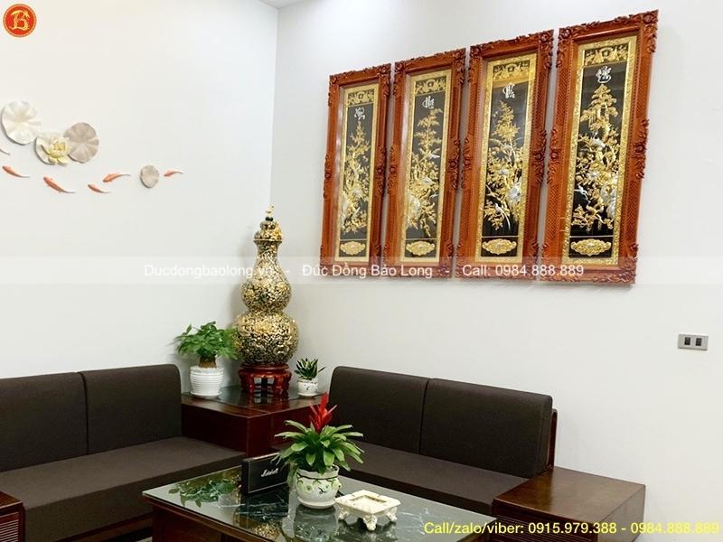Tranh Tứ Quý Mạ Vàng 24k cao 1m27 treo ở Bắc Giang