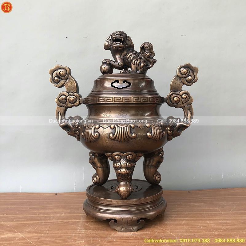 Đỉnh Đồng Hun Giả Cổ 60cm thờ gia tiên