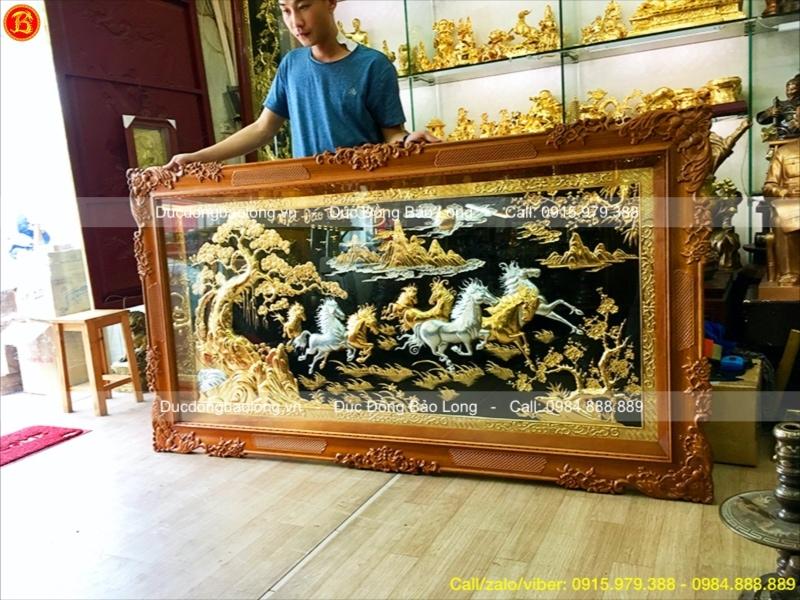 Tranh Bát Mã mạ vàng 1m97 hàng đặt khách Quảng Ngãi