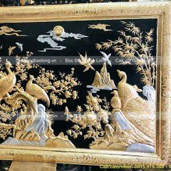 tranh đôi chim uyên ương mạ vàng