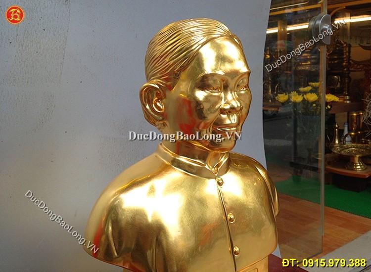 Đúc Tượng Chân Dung Bà Bằng Đồng Dát Vàng