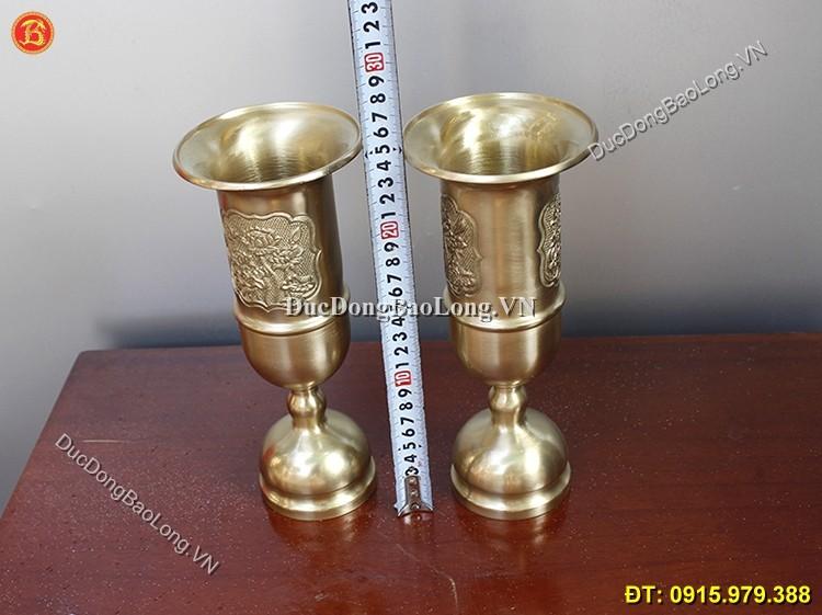 Ống Hương Bằng Đồng Thau Cao 25cm