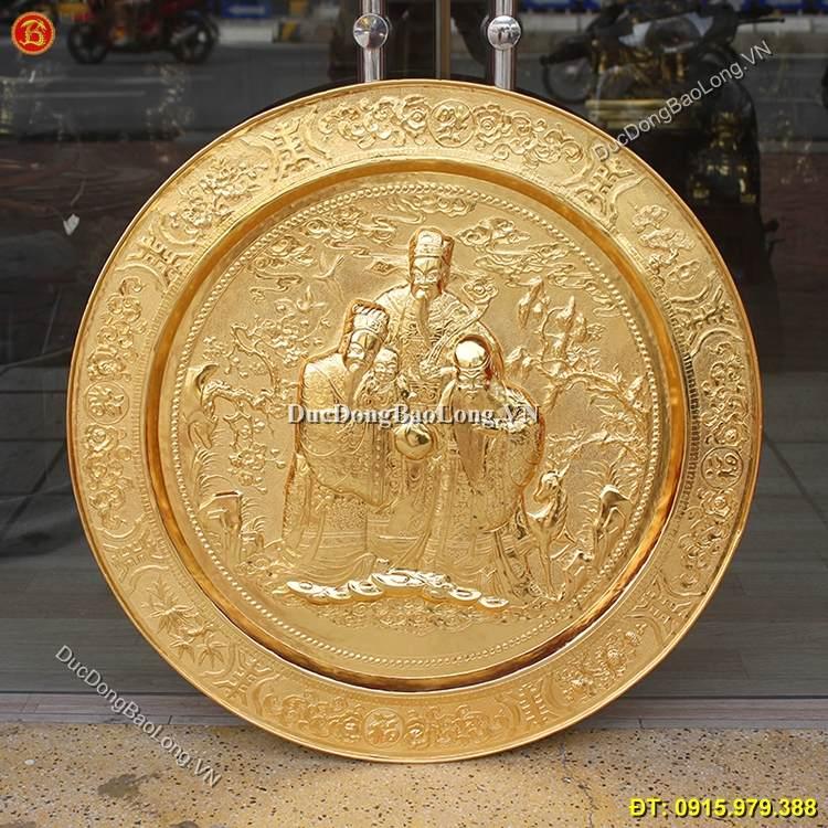 Mâm Đồng Tam Đa Dát Vàng 9999 ĐK 81cm