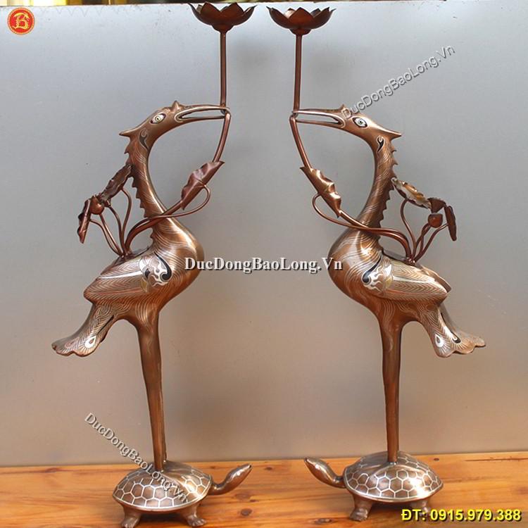 Hạc Đồng Thờ Cúng Khảm Tam Khí Cao 50cm