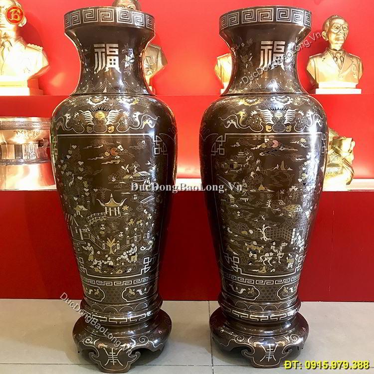 Lọ Lộc Bình Bằng Đồng Khảm Tam Khí Cao 89cm