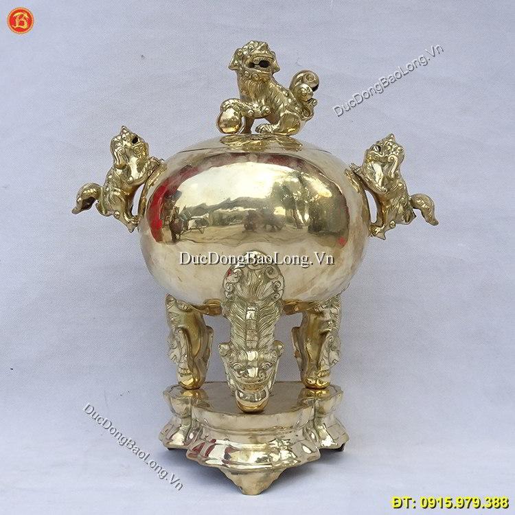 Đỉnh Đồng Vàng Tam Nghê Cao 50cm