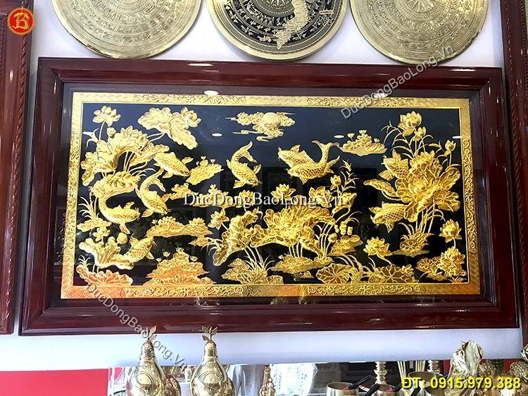 tranh cửu ngư hoa sen mạ vàng