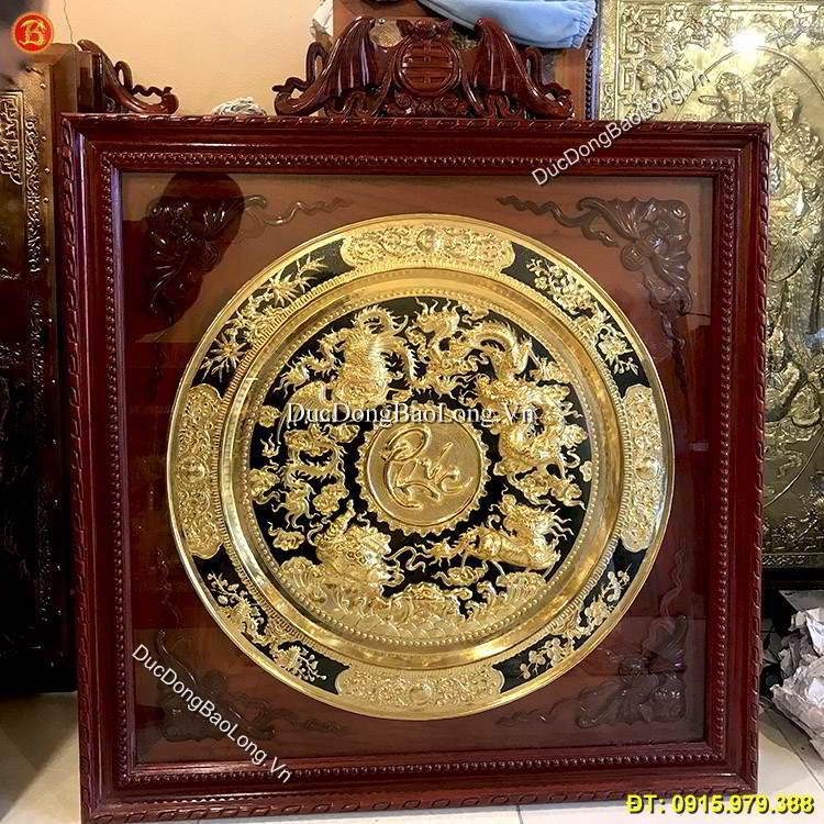 Mâm Đồng Tứ Linh Chữ Phúc ĐK 81cm