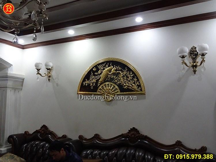 Tranh Quạt Công Mai Treo Phòng Khách Mạ Vàng 24k