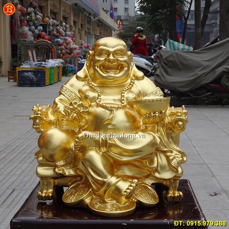 Tượng Đồng Di Lặc Dát Vàng 9999 Cao 35cm