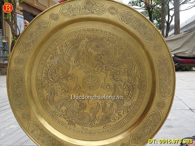 Mâm Chữ Thọ Tứ Linh Bằng Đồng ĐK 50cm