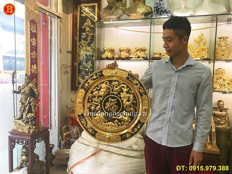 Mâm Tứ Linh Bằng Đồng Mạ Vàng ĐK 50cm