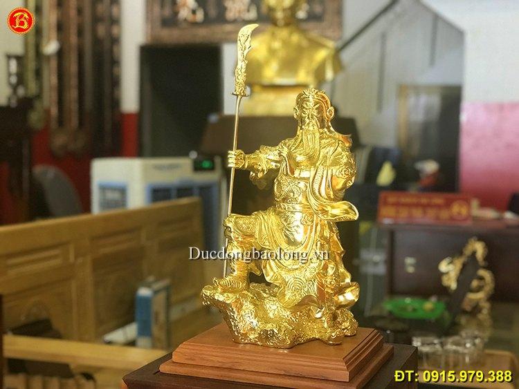 Tượng Quan Công Bằng Đồng Dát Vàng Cao 39cm