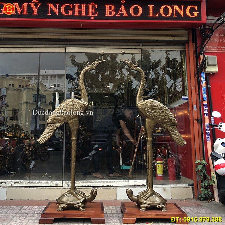Hạc Thờ Mẫu Cổ Bằng Đồng Cao 1m91