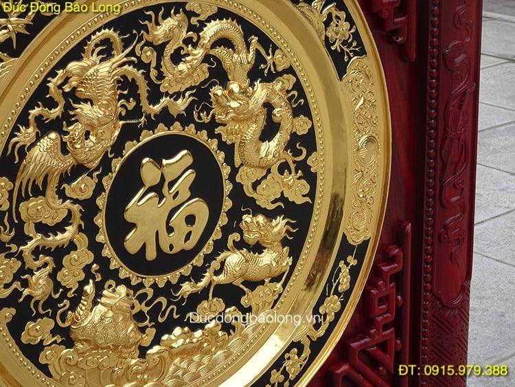 Tranh Mâm Đồng Tứ Linh mạ vàng 24k 1m07