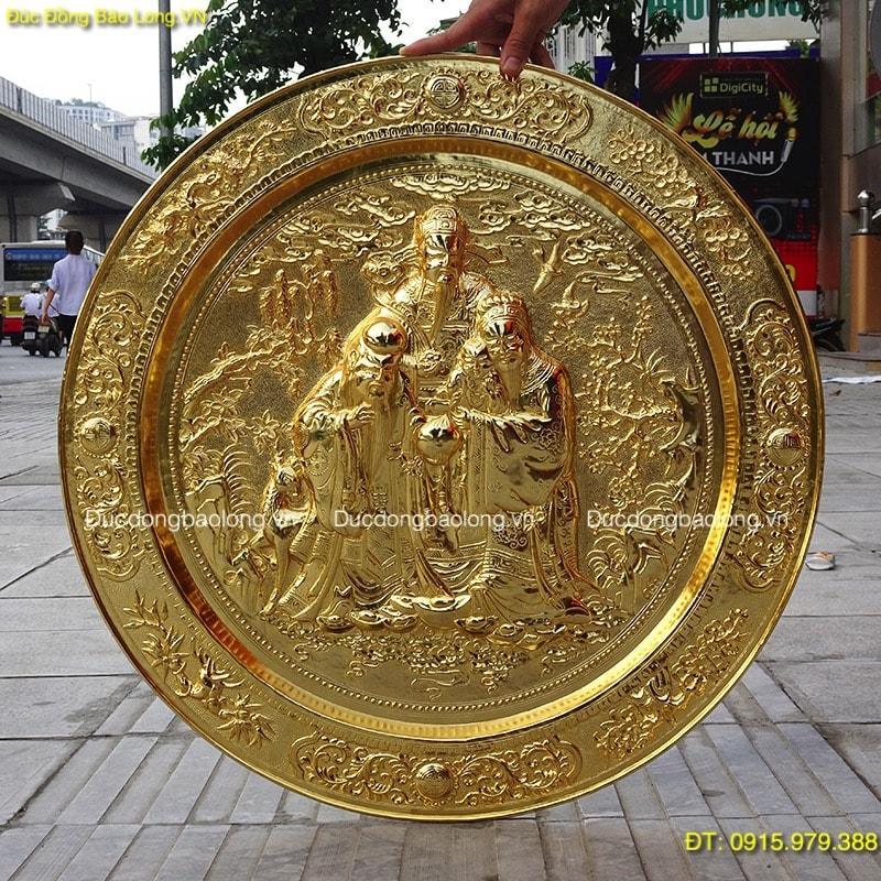 Mâm Đồng 3 Ông Phúc Lộc Thọ mạ vàng 24k