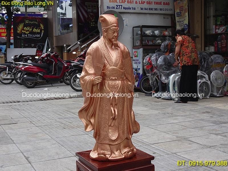 Tượng Khổng Minh Đồng Đỏ đẹp cao 69cm