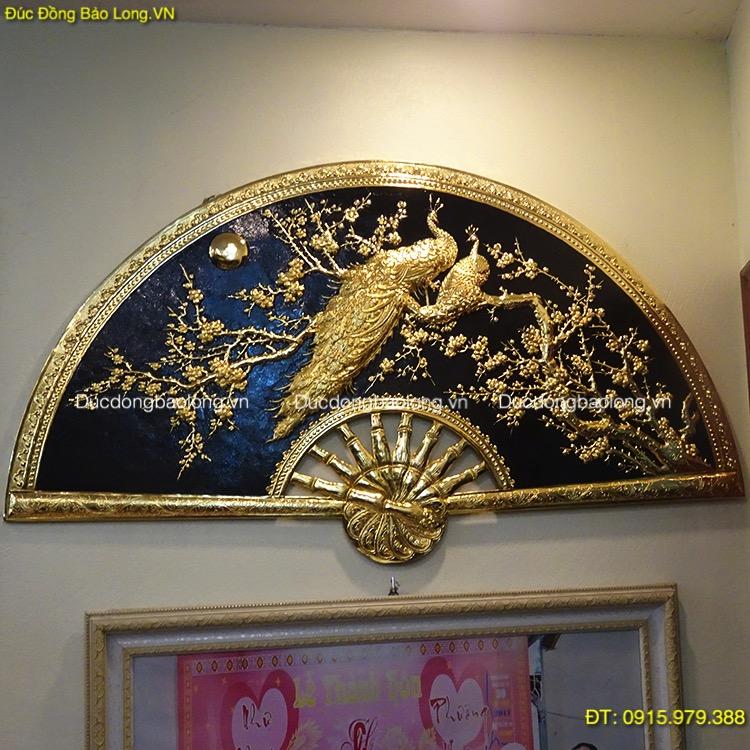 Tranh Quạt Công Mai mạ vàng 24k dài 1m33