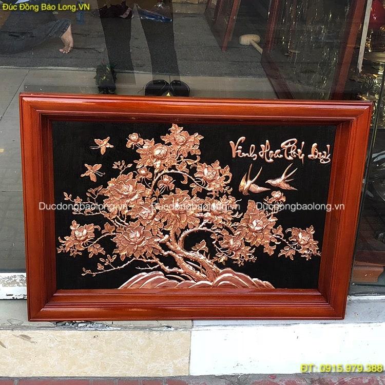 Tranh Vinh Hoa Phú Quý Đồng Đỏ dài 88cm