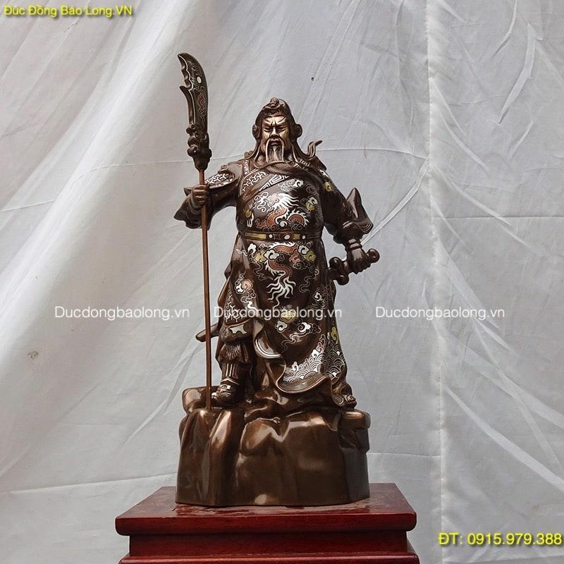 Tượng Quan Công Cao 48cm khảm tam khí (mẫu mới)