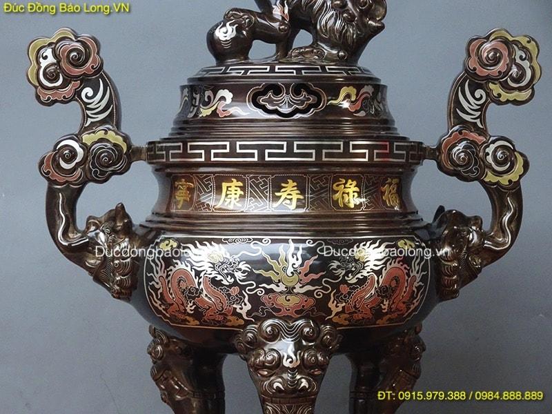 Đỉnh Đồng Khảm 5 Chữ Vàng thờ gia tiên cao 55cm