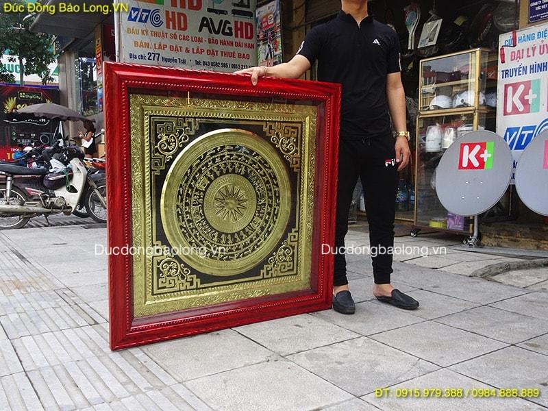 Tranh Trống Đồng Treo Tường khung gỗ 1m07