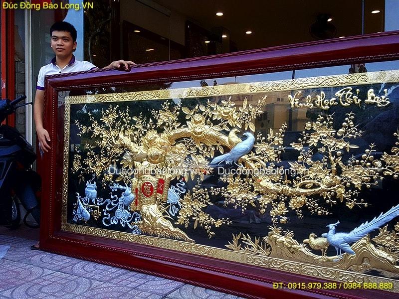 Tranh Vinh Hoa Phú Quý Mạ Vàng Bạc dài 2m62