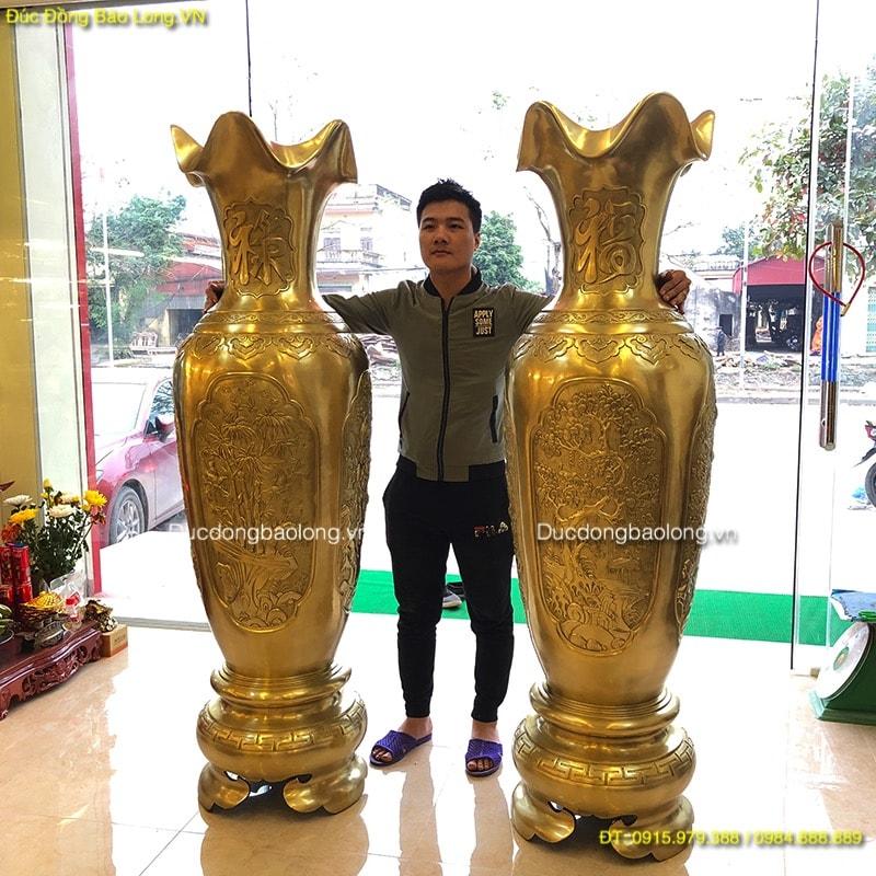 Đôi Lọ Lộc Bình Bằng Đồng 1m76