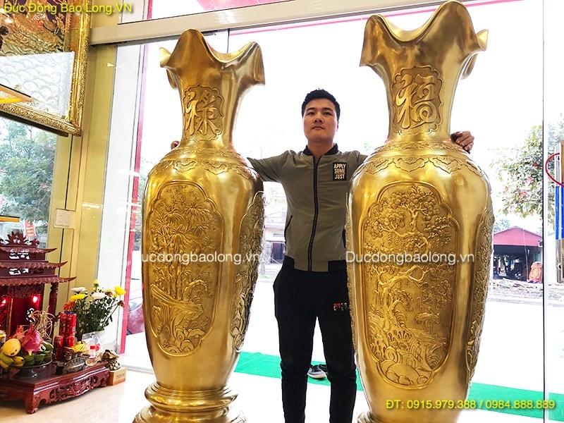 Lọ Lộc Bình Bằng Đồng cát tút 1m76 đẹp nhất Việt Nam