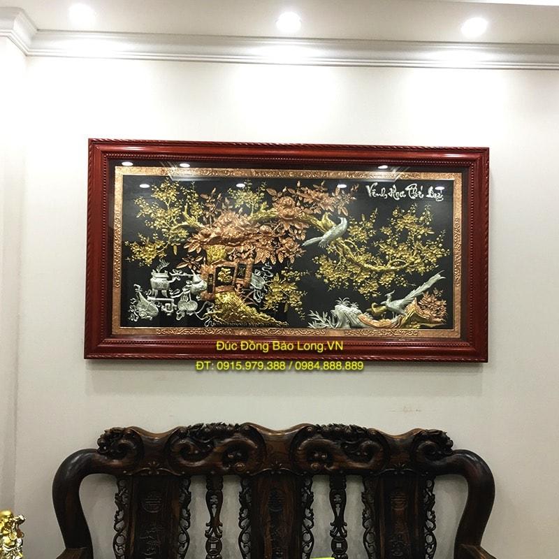 Tranh Vinh Hoa Phú Quý 1m97 mạ điểm vàng bạc