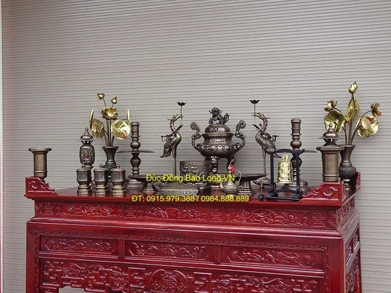 Bộ đồ thờ đỉnh Sòi giả cổ đầy đủ cao 60cm