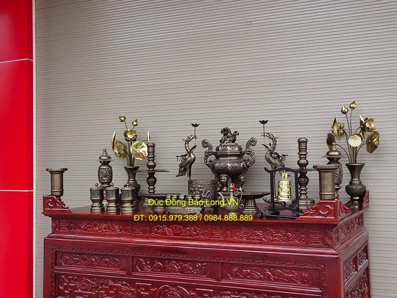 Bộ đồ thờ đỉnh Bát Giác giả cổ cao 60cm