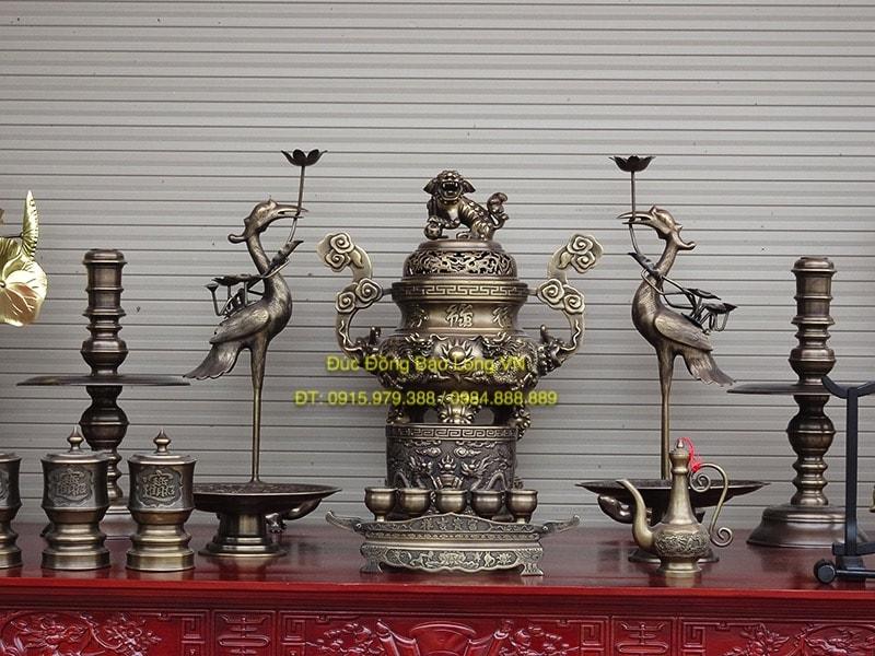 Bộ đồ thờ đỉnh Rồng nổi giả cổ cao 60cm
