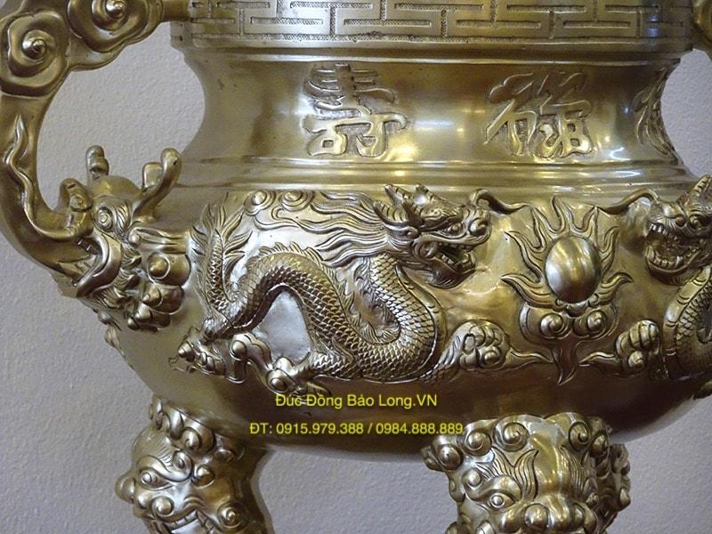 Đỉnh thờ Rồng nổi bằng đồng cát tút 60cm