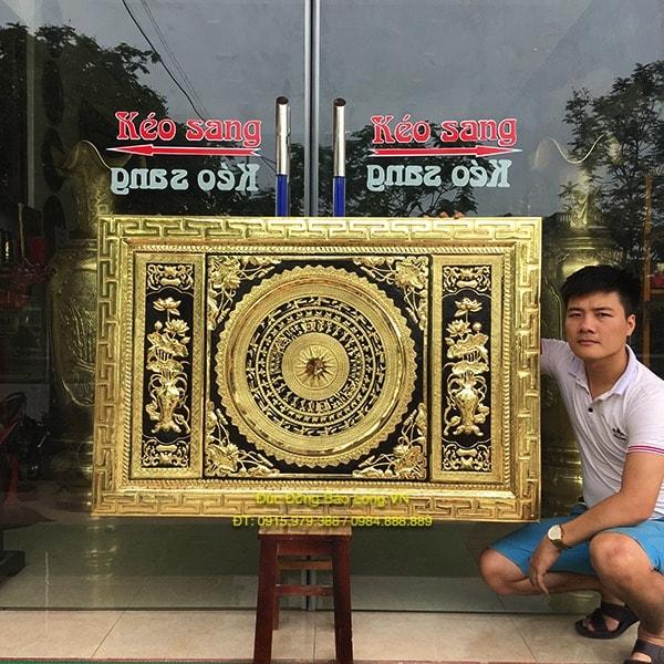 Tranh mặt trống Hoa Sen bằng đồng 1m27