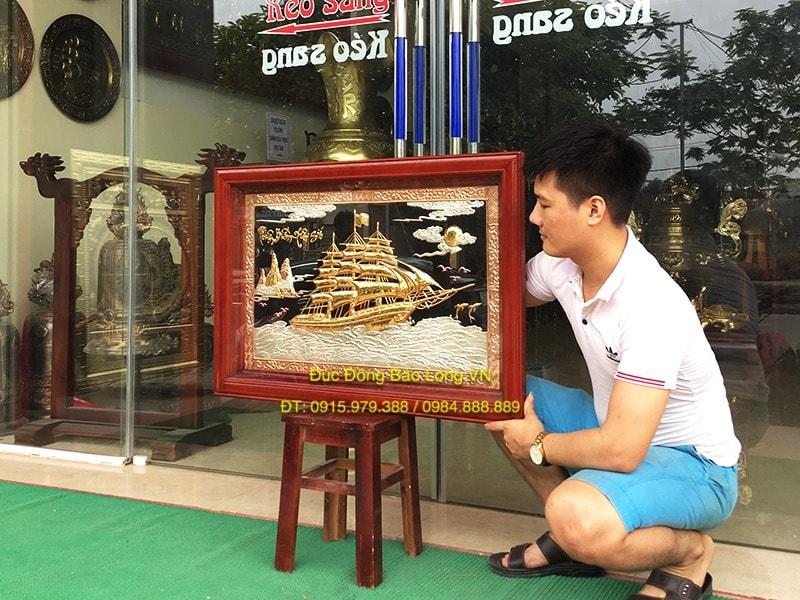 Tranh Thuyền Buồm bằng đồng mạ vàng bạc