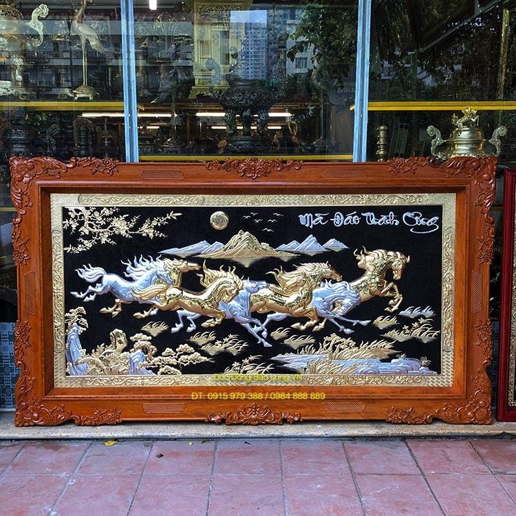 Tranh Bát Mã khung gỗ Hương đẹp 2m37
