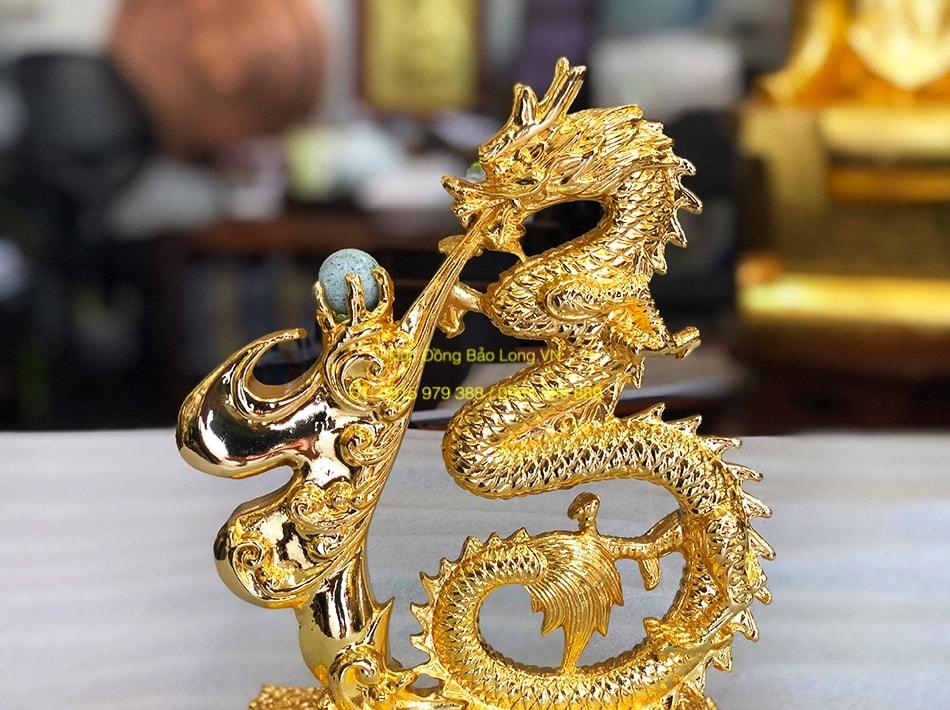 Tượng Rồng phong thuỷ phun ngọc mạ vàng 24k