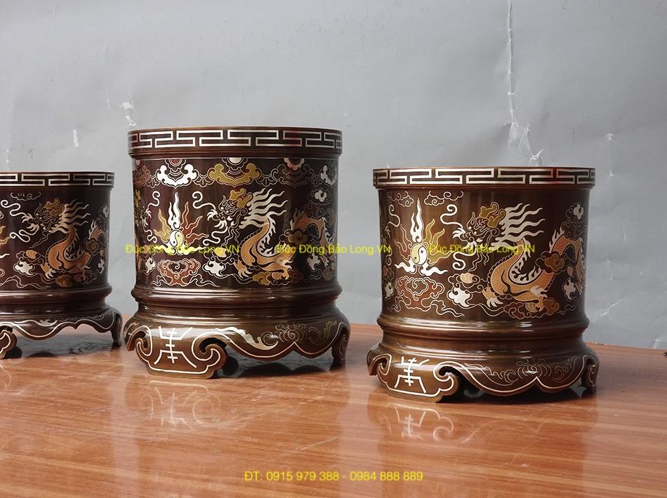 Bộ 3 Bát hương gia tiên bằng đồng 16cm, 18cm