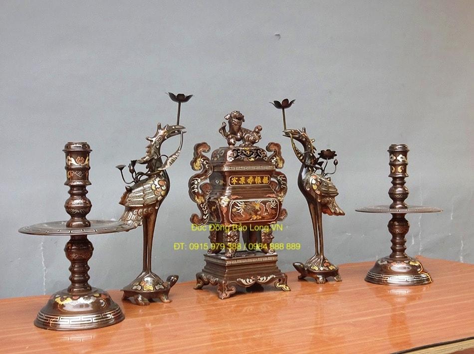 Bộ đồ thờ Ngũ sự Đỉnh Vuông ngũ sắc 50cm