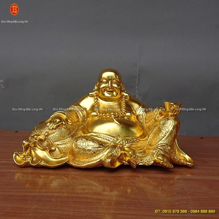 Tượng Di Lặc ngồi bao tiền dát vàng 38cm