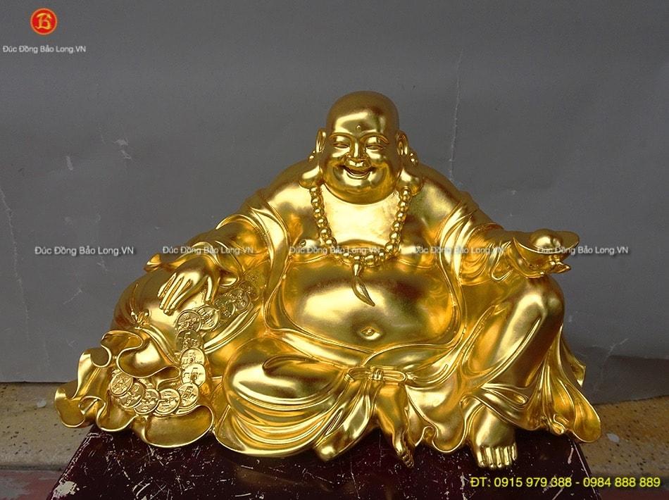Tượng Di Lặc ngồi bao tiền dát vàng dài 45cm