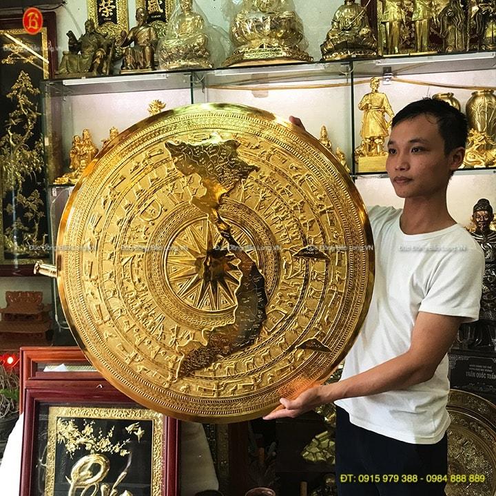 Mặt trống bản đồ Mạ Vàng 24k đk 80cm