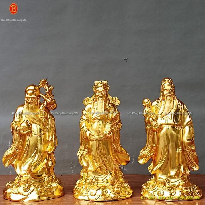 Tượng 3 Ông Tam Đa dát vàng cao 61cm