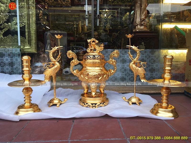 Bộ Ngũ Sự Đỉnh Rồng Dát Vàng cao 60cm